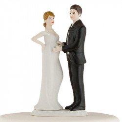 Figurine pièce montée mariée enceinte