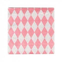 Serviettes tendres losanges (x20) - Rose pâle