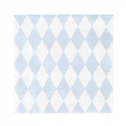 Serviettes tendres losanges (x20) - Bleu ciel