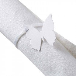 Marque-places papillon avec ruban (x10) - Blanc