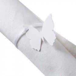 Marque place papillon avec ruban blanc (x10)