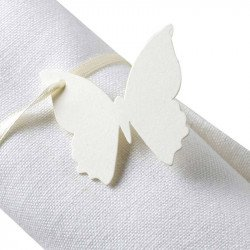 Marque-places papillon avec ruban (x10) - Ivoire