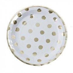Assiettes blanches à pois dorés (x8)