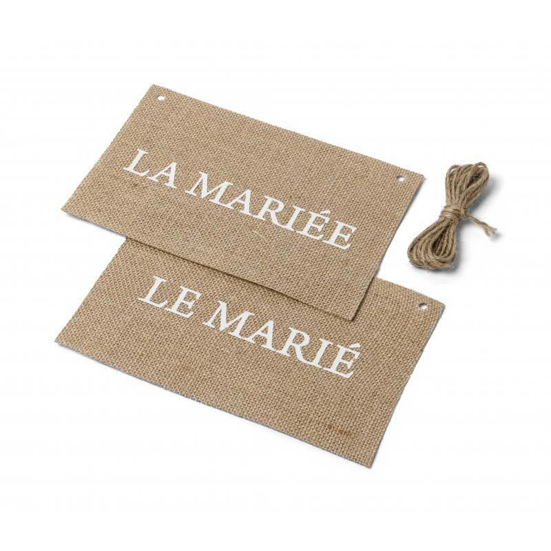 """Dos de chaise en jute  """"La mariée/ Le marié"""" (x2)"""