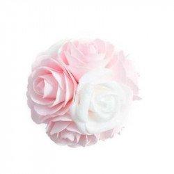Boule de ROSE mousse bicolore rose et blanche
