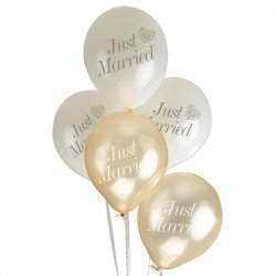 Ballons Just Married Coeur (x8) - Or
