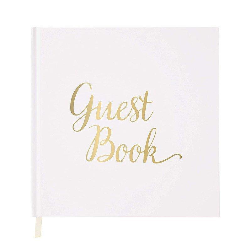 """Livre d'or Blanc écriture """"guest book"""" Or"""