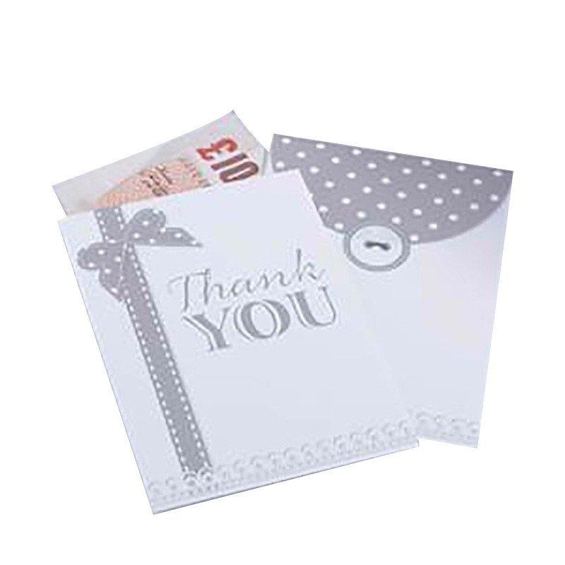 "Enveloppe Vintage ""thank you"" argent (x10)"