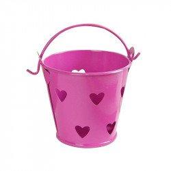 Petits pots en zinc cœur (x5) - Rose