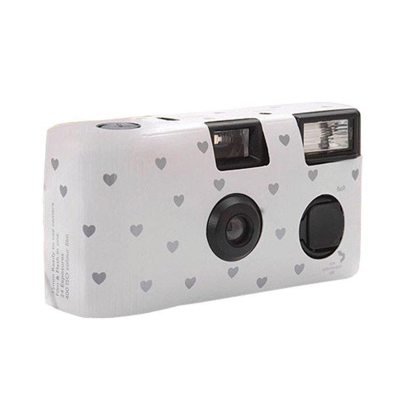 Appareil photo jetable blanc motif cœur