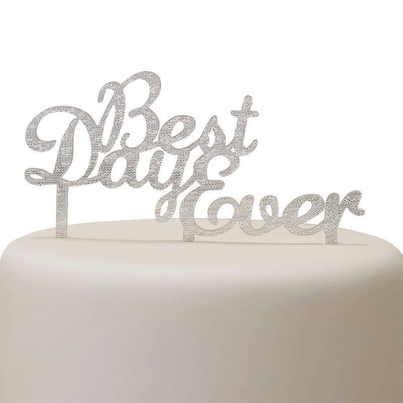 """Cake topper """"Best Day Ever""""  argent"""