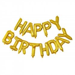 """Ballons lettres """"Happy birthday"""" - Or"""