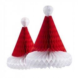 Bonnets de Père Noël nid d'abeille (x2)