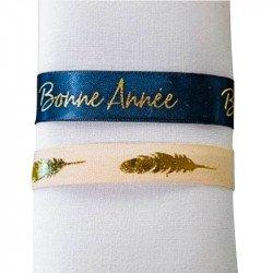 "Ruban satin bleu marine et or ""Bonne Année"""