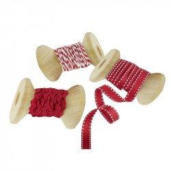 Rubans de Noël rouge et blanc (x3)