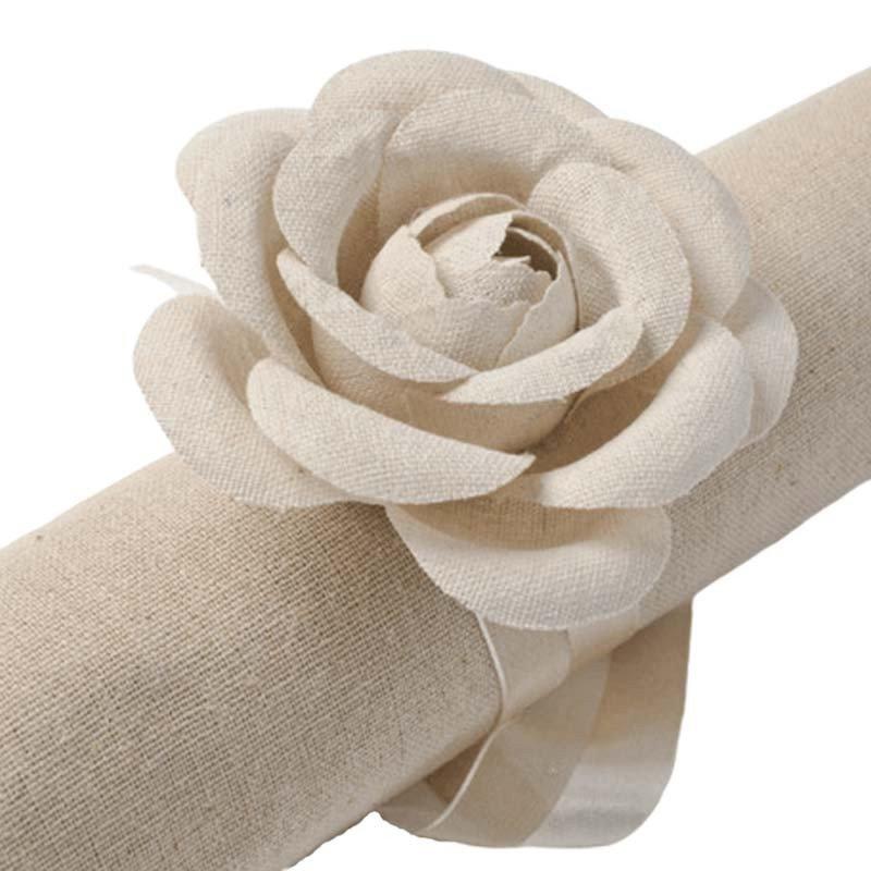 roses en lin couleur uni (x2)
