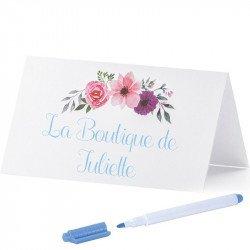 Marque-places blancs à fleurs (x25)