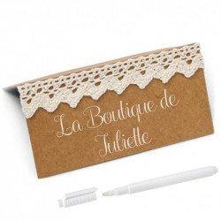 """Marques place kraft & dentelle labellé """"La boutique de Juliette"""" avec un crayon blanc(x10)"""