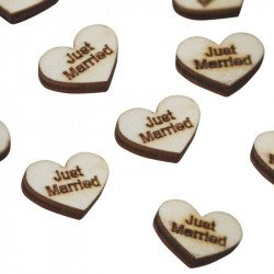 "Confettis coeur en bois ""Just Married"" (x25)"