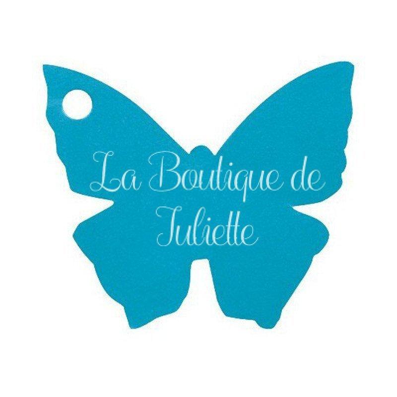 Marque place en papillon Turquoise (x10)