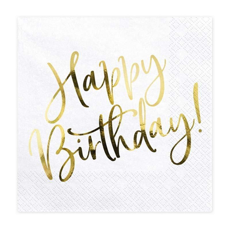 """Serviettes """"Happy Birthday"""" dorées (x20)"""