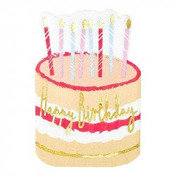 Serviettes Gâteaux Happy Birthday (x12)