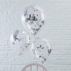 Ballons confettis (x5) - Argent