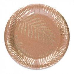 Assiettes Kraft Palmiers dorés Tropi Chic (x8)