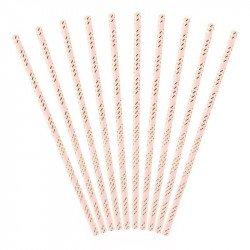 Pailles roses à rayures dorées (x10)