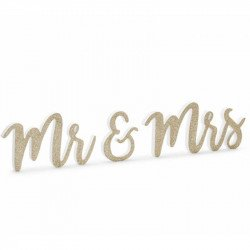 """Lettres bois """"Mr & Mrs"""" dorées"""