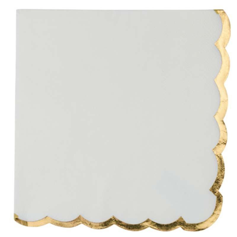Serviettes blanches liseré doré (X16)