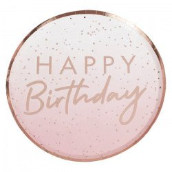 """Assiettes pois Rose Gold """"Happy Birthday"""""""