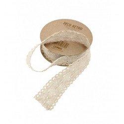 Ruban coton dentelle ivoire - 2M