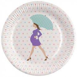 Assiettes Baby shower purple sur une table (x8)