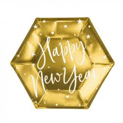 """Assiettes Dorées """"Happy New Year"""" (x6) - 18 CM"""