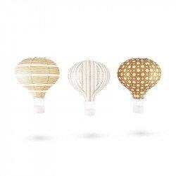 Lanternes Montgolfières or et blanc (x3)