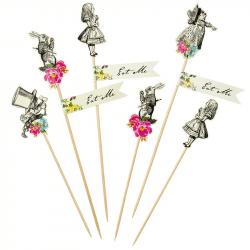 """Pics à cupcakes """"Alice aux pays des Merveilles"""" (x12)"""