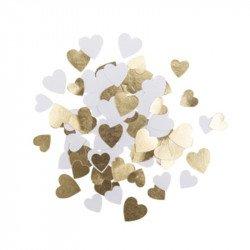 Confettis petits cœurs papier blanc & doré (x100)
