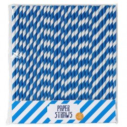 Pailles à rayures bleues- 25 unités