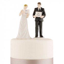 Figurine les Mariés à la Pancarte