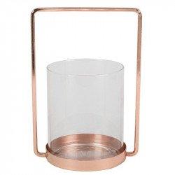 Photophore lanterne métal et verre - 25 cm