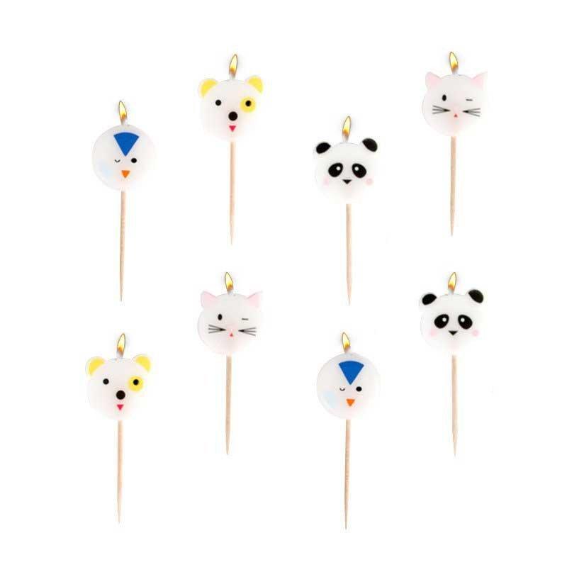Bougies mini animaux (x8)