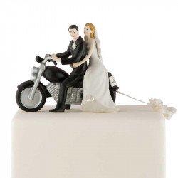 Figurine Couple de Mariés à Moto - Blanc