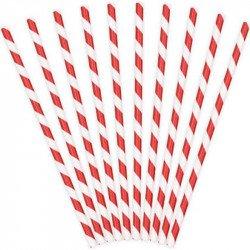 Pailles à rayures rouge et blanc (x25)