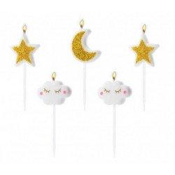 Bougies Etoiles dorées, Lunes dorées et Nuages blancs (x5)