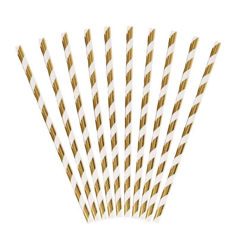 """Pailles rayées or """"brillant"""" (x25)"""