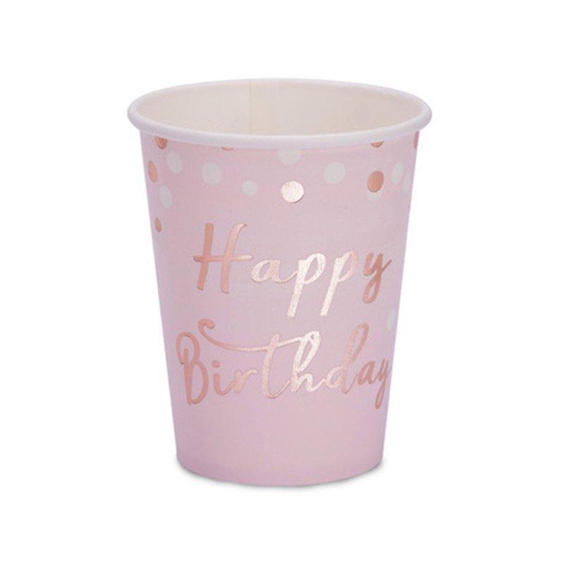 8 gobelets Happy Birthday confettis rose gold