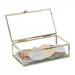 Livre d'or boîte en verre + coeurs