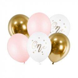 """Ballons """"One"""" pastel et dorés (x6)"""