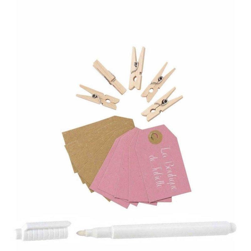 Kit Mini pince et étiquette rose/kraft (x10)
